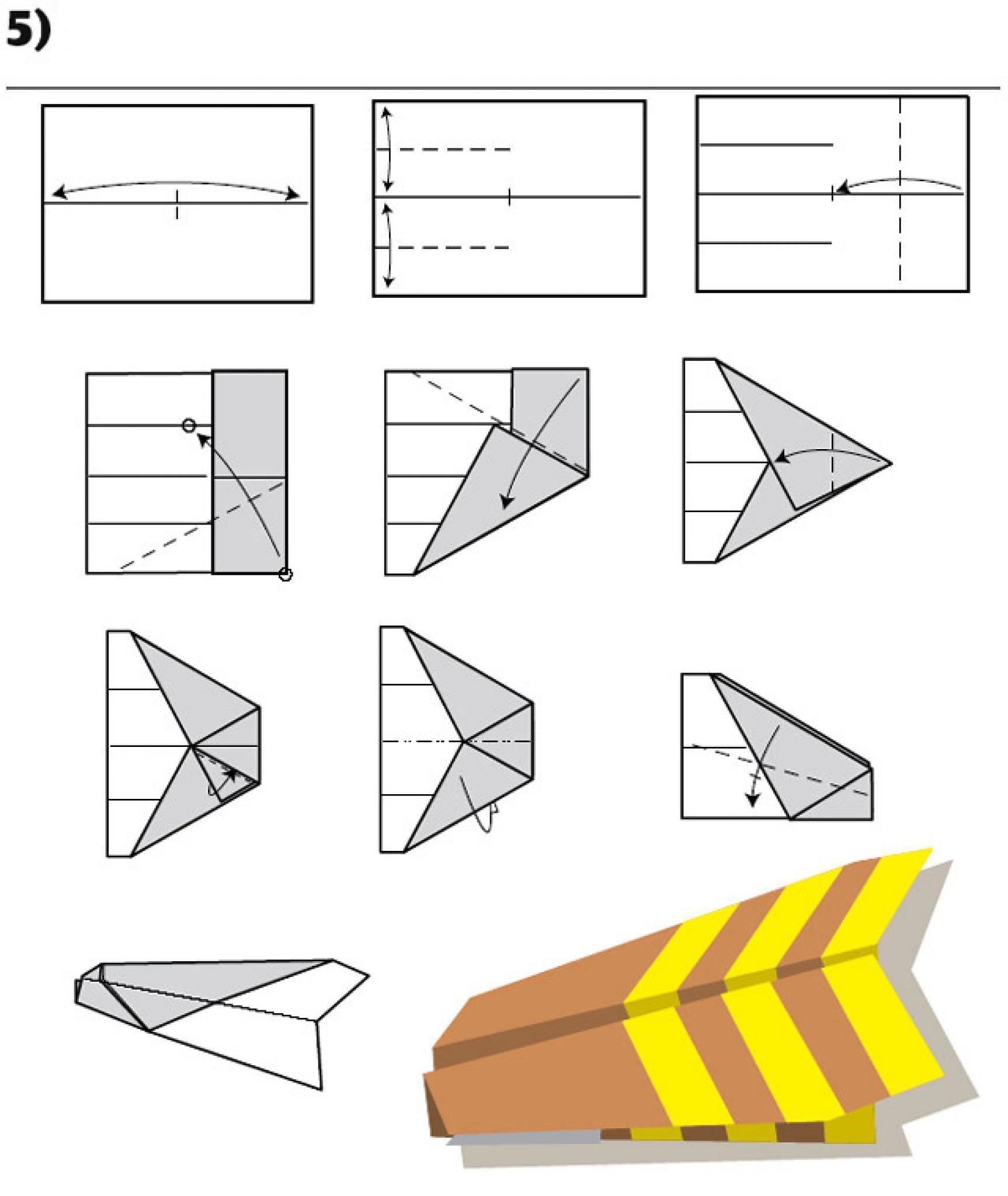 Схема сборки самолетиков из бумаги
