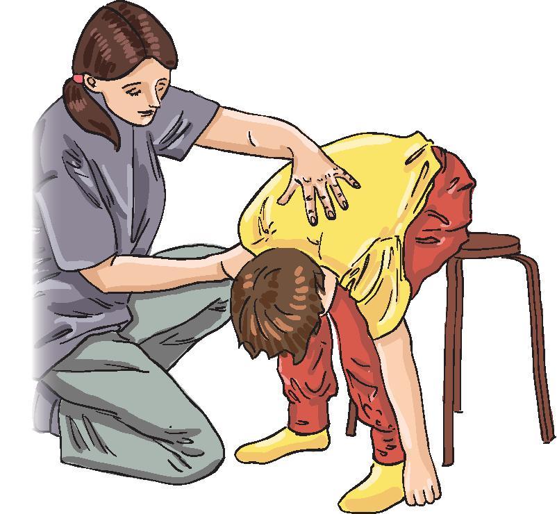 Алгоритм действий при обмороке у ребенка  1. Усадите ребенка, нагните его, опустив голову между коленями. Можно уложить ребенка на спину, приподняв ноги, подложив под них свернутую одежду или подушки.