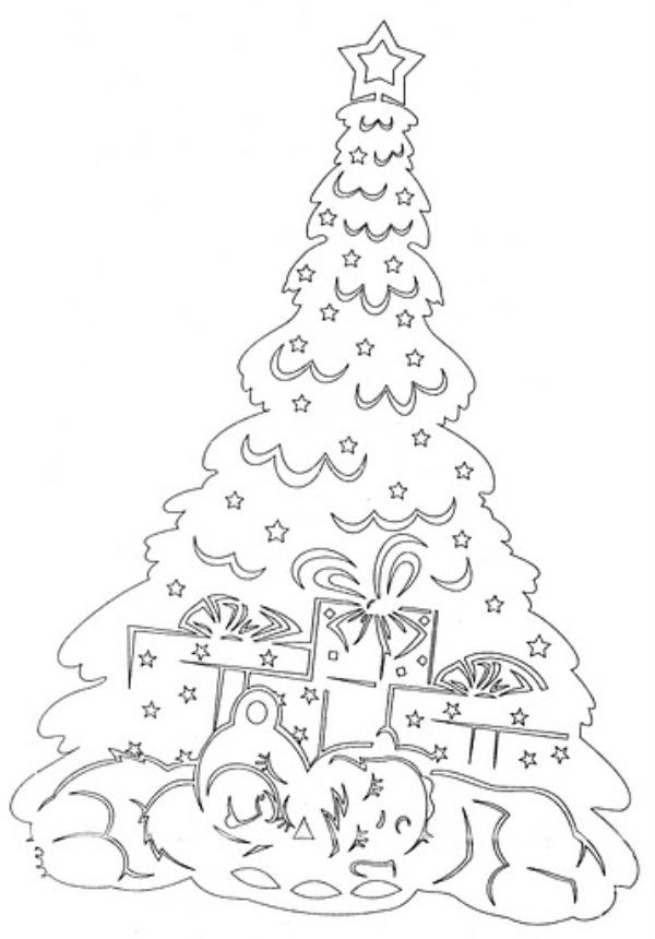 Вытынанки новый год елка