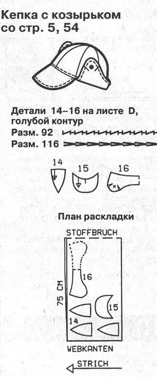 Раскладка кепки